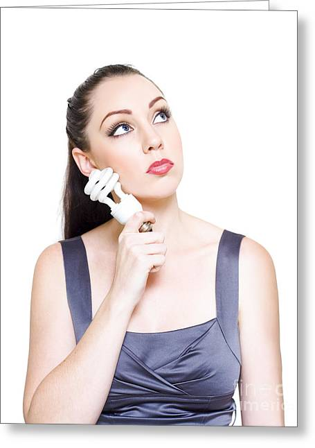 Young Modern Business Woman Holding Light Bulb Greeting Card by Jorgo Photography - Wall Art Gallery