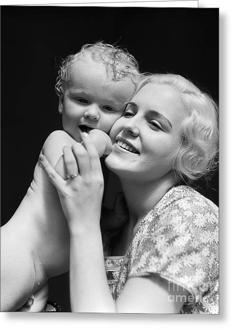 Caring Mother Greeting Cards - Young Mother With Baby, C. 1930s Greeting Card by H. Armstrong Roberts/ClassicStock