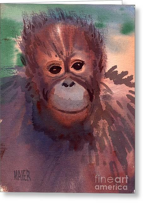 Orangutan Greeting Cards - Young Orangutan Greeting Card by Donald Maier