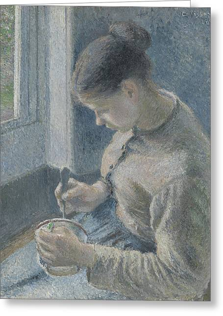 Young Peasant Having Her Coffee Greeting Card by Camille Pissarro