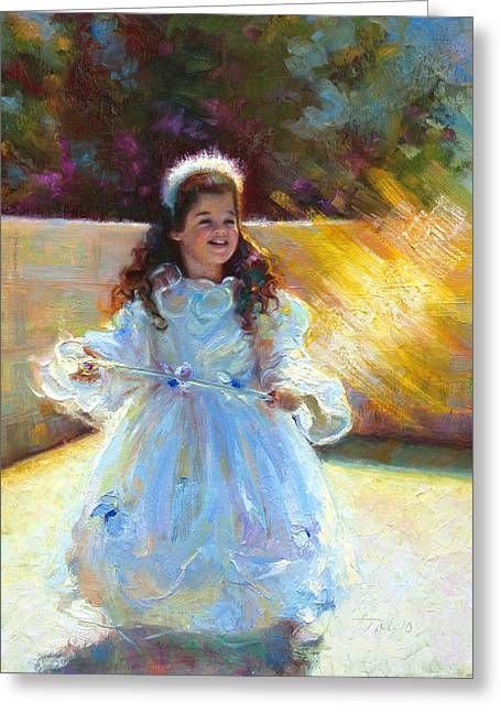 Purim Paintings Greeting Cards - Young Queen Esther Greeting Card by Talya Johnson