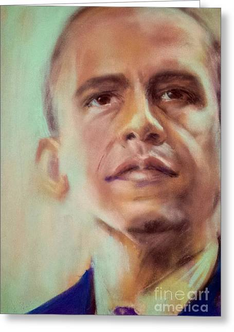 Barack Obama Pastels Greeting Cards - Young Senator Greeting Card by Cynthia Pierson