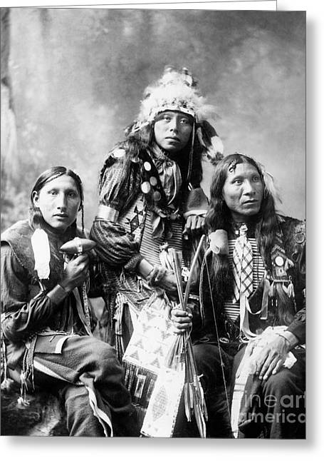 Shout Greeting Cards - Young Sioux Men, 1899 Greeting Card by Granger