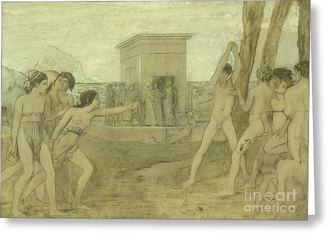 Young Spartan Girls Challenging Boys Greeting Card by Edgar Degas