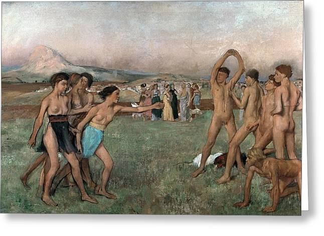 1860 Greeting Cards - Young Spartans Exercising Greeting Card by Edgar Degas