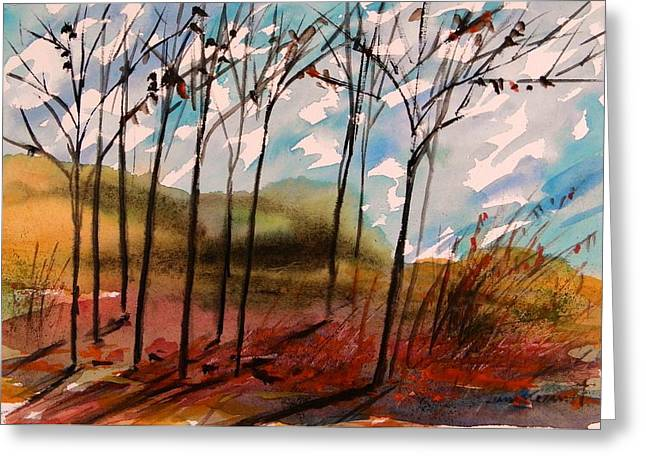 Unique View Drawings Greeting Cards - Young Trees Moving Sky Greeting Card by John  Williams