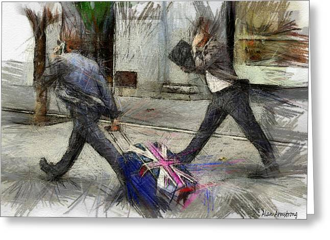Traveling Salesman Greeting Cards - Young Urban Professionals London UK Greeting Card by Alan Armstrong