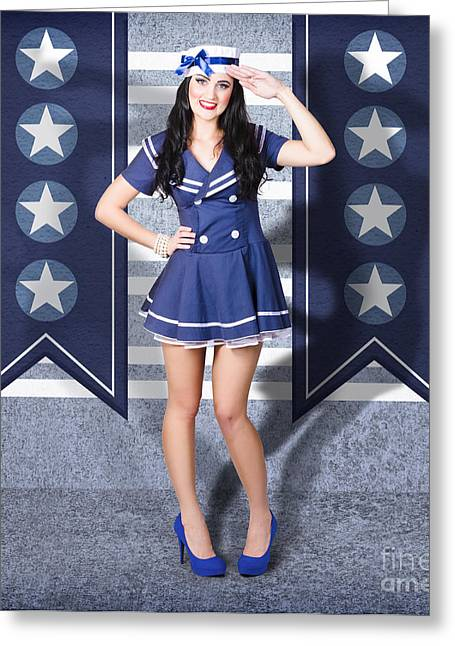 Young Us Marine Corps Pin-up Girl. Sailor Style Greeting Card by Jorgo Photography - Wall Art Gallery