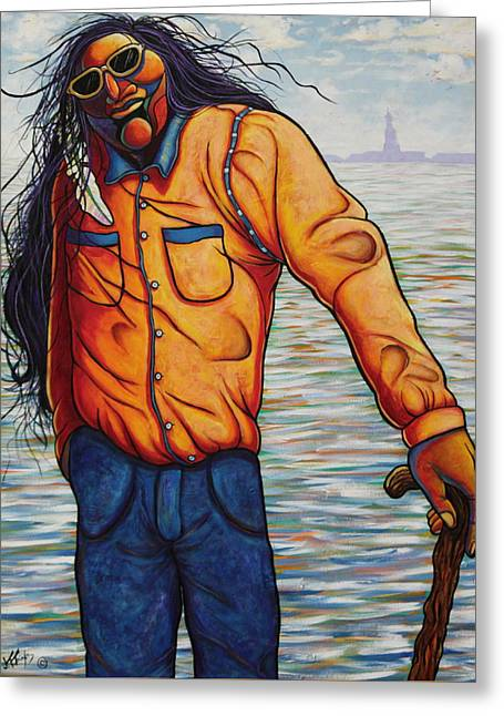 Indian Wearing Blue Jeans Greeting Cards - Young Veteran Visiting Miss Liberty Greeting Card by Joe  Triano