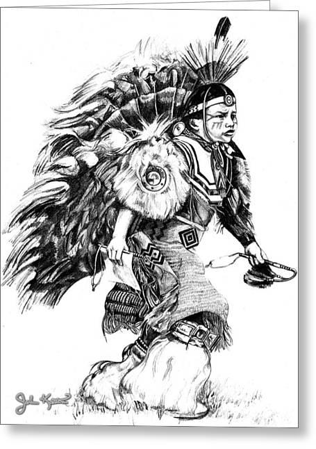 Johnkeaton Greeting Cards - Young Warrior Greeting Card by John Keaton