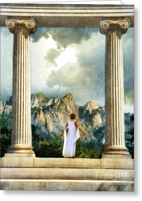 Middle Eastern Culture Greeting Cards - Young Woman as a Classical Woman of Ancient Egypt Rome or Greece Greeting Card by Jill Battaglia