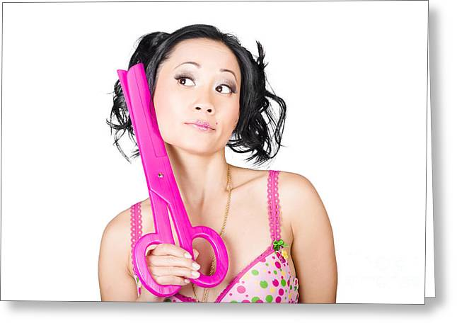 Hairstylists Greeting Cards - Young woman barber holding large pink scissors Greeting Card by Ryan Jorgensen