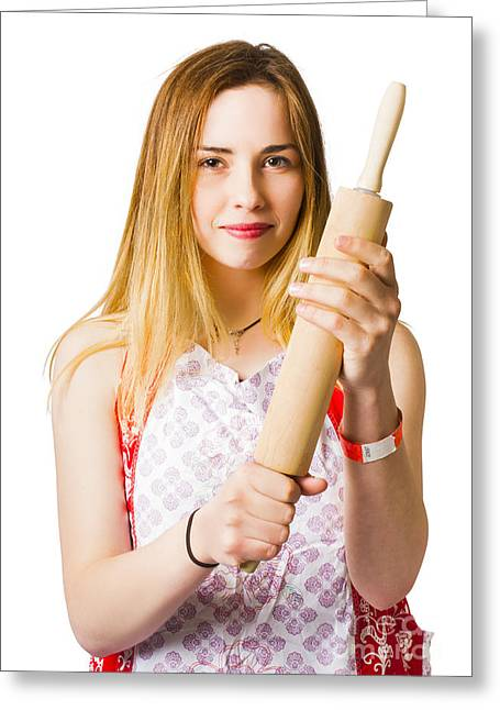 Young Woman Holding Rolling-pin Greeting Card by Jorgo Photography - Wall Art Gallery