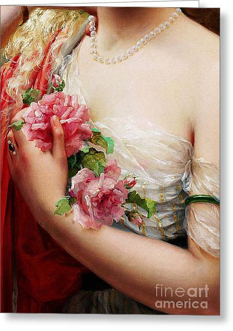 Young Woman Holding Roses, Vintage French Painting Greeting Card by Tina Lavoie