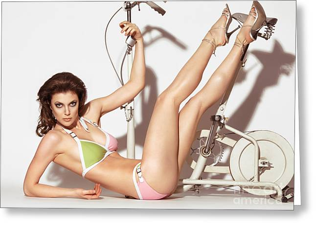Two Piece Greeting Cards - Young Woman in a Swimsuit Posing with Exercise Bike Greeting Card by Oleksiy Maksymenko