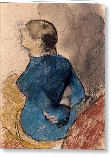 Print Pastels Greeting Cards - Young Woman in Blue Greeting Card by Edgar Degas