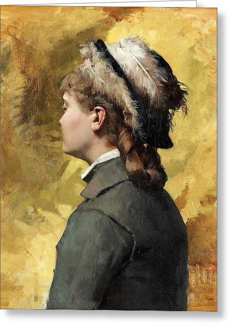 Young Albert Greeting Cards - Young woman in grey Greeting Card by Celestial Images