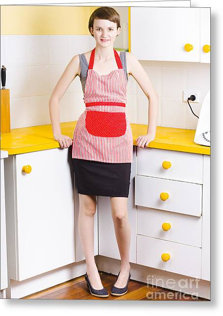 Work Area Greeting Cards - Young woman in kitchen Greeting Card by Ryan Jorgensen