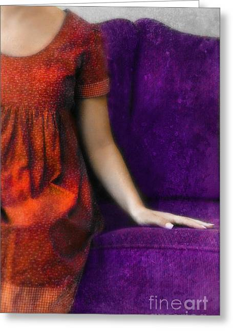 Purple Couch Greeting Cards - Young Woman in Red on Purple Couch Greeting Card by Jill Battaglia