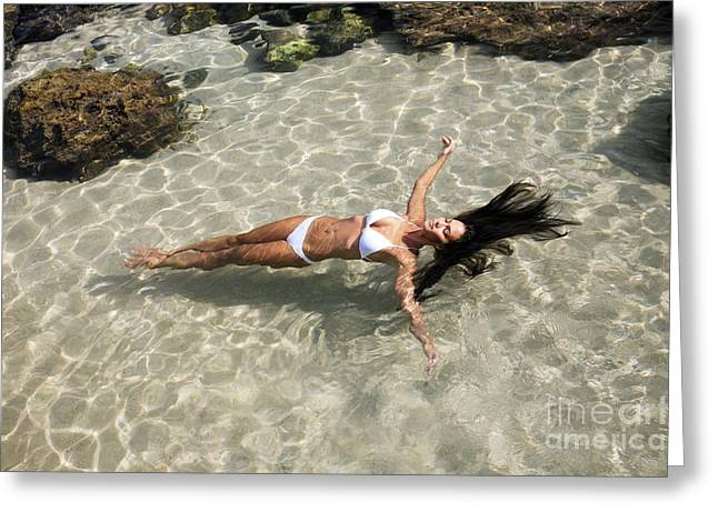 Attract Greeting Cards - Young woman in the water Greeting Card by Brandon Tabiolo - Printscapes