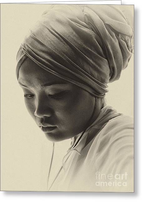Images Of Woman Greeting Cards - Young woman in turban Greeting Card by Sheila Smart
