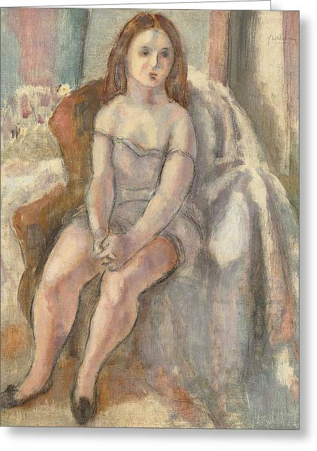 Young Woman In White Chemise Greeting Card by Jules Pascin