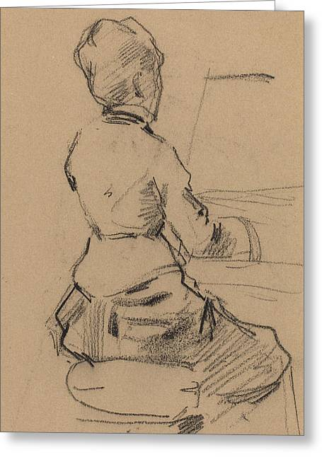 Young Woman Seated At A Piano Greeting Card by Jean Louis Forain