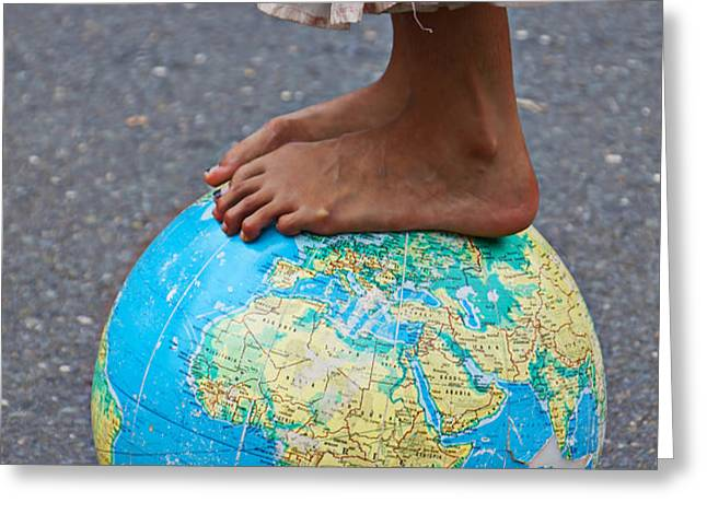 Young woman standing on globe Greeting Card by Garry Gay