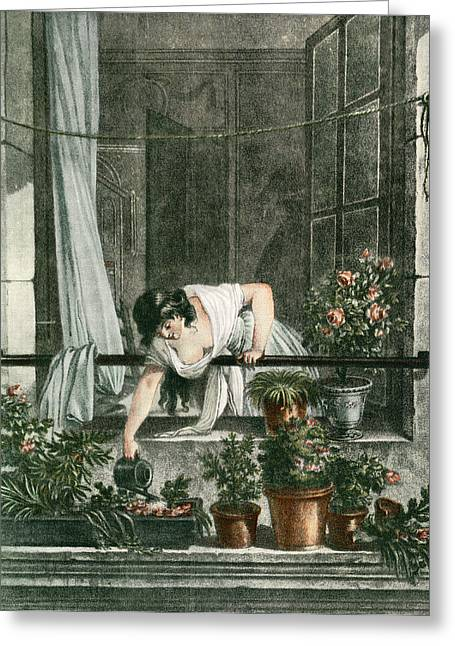 Ledge Drawings Greeting Cards - Young Woman Watering Plants Greeting Card by Vintage Design Pics