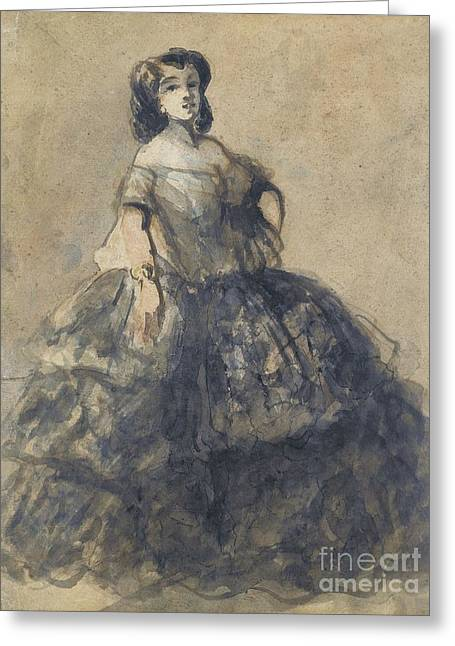 Crinoline Greeting Cards - Young Woman Wearing Crinoline Greeting Card by Constantin Guys