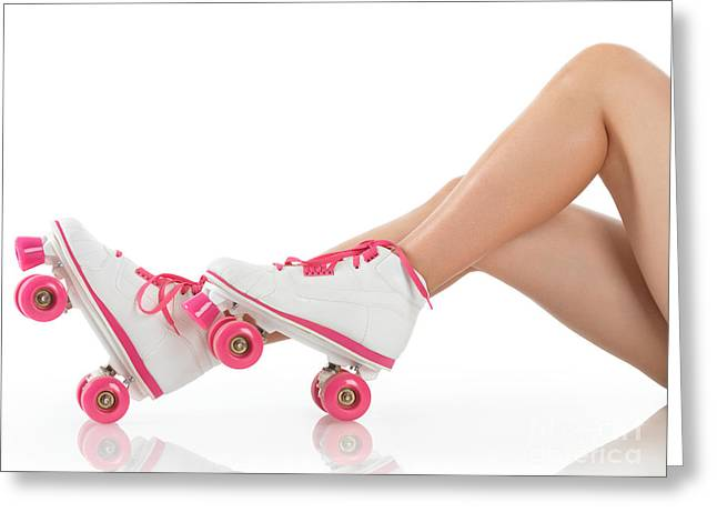 Roller Derby Greeting Cards - Young Woman Wearing Roller Derby Skates Greeting Card by Oleksiy Maksymenko
