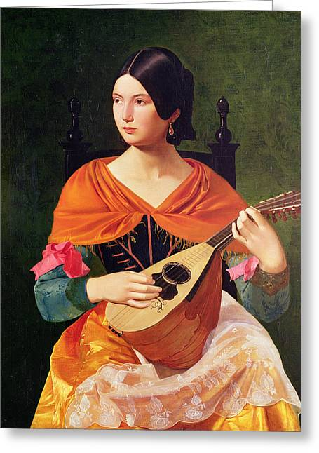 Strumming Greeting Cards - Young Woman with a Mandolin Greeting Card by Vekoslav Karas