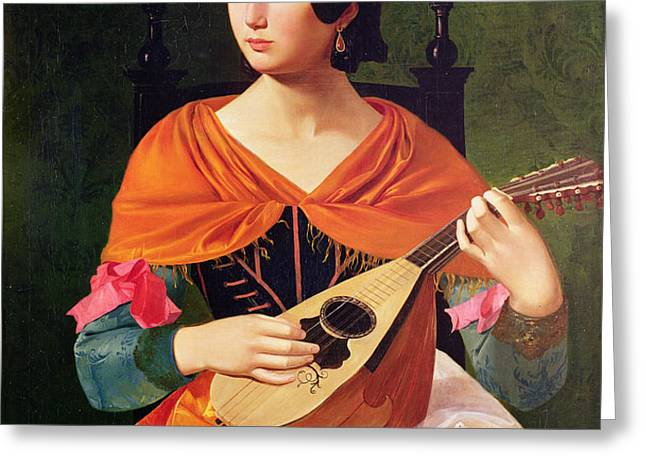 Young Woman with a Mandolin Greeting Card by Vekoslav Karas