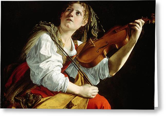 Violin Greeting Cards - Young Woman with a Violin Greeting Card by Orazio Gentileschi