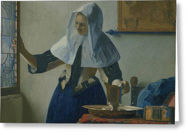 Young Woman With A Water Pitcher  Greeting Card by Jan Vermeer