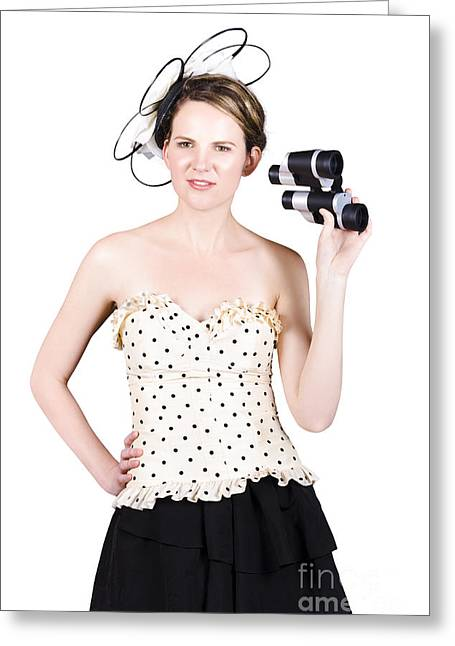 Observer Greeting Cards - Young Woman With Binoculars Greeting Card by Ryan Jorgensen