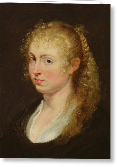 Young Woman With Curly Hair Greeting Card by Rubens