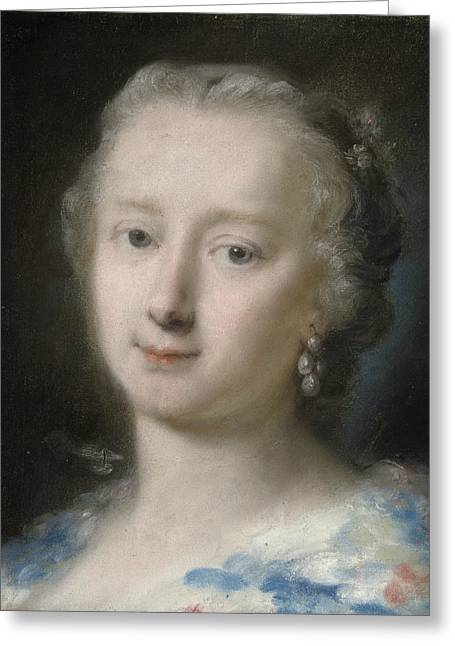 Young Woman With Flowers In Her Hair Greeting Card by Rosalba Carriera