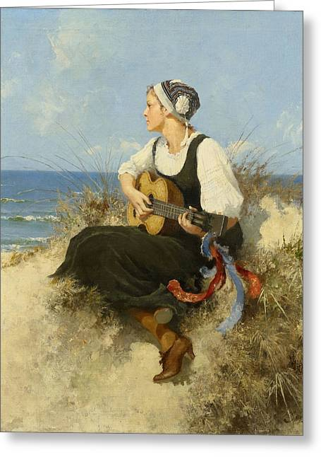 Hermann Greeting Cards - Young Woman With Guitar At The Beach Greeting Card by Hermann Seeger