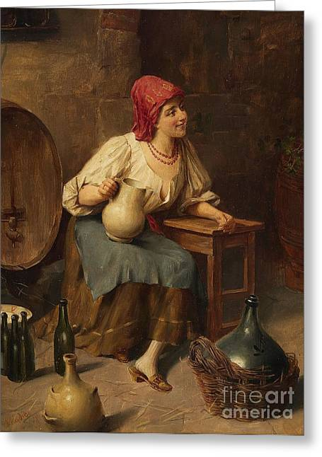 Young Woman With Wine Jugs And Bottles Greeting Card by Celestial Images