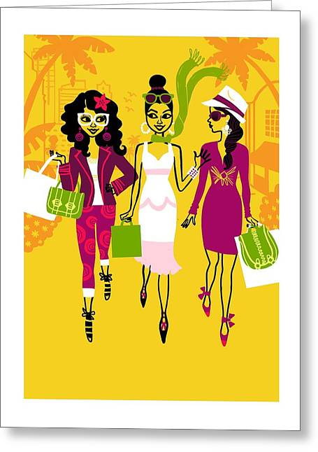 Shopping Bag Greeting Cards - Young Women With Shopping Bags Greeting Card by Gillham Studios