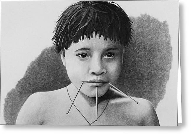 Aboriginal Art Drawings Drawings Greeting Cards - Young Yanomamo Girl Greeting Card by Stephen McCall