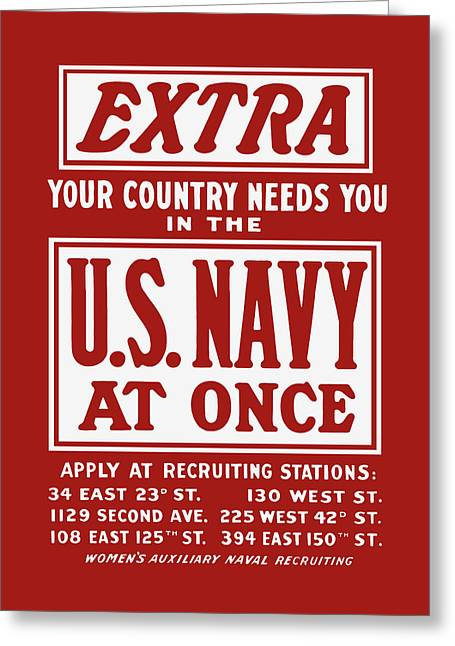 Your Country Needs You In The Us Navy Greeting Card by War Is Hell Store