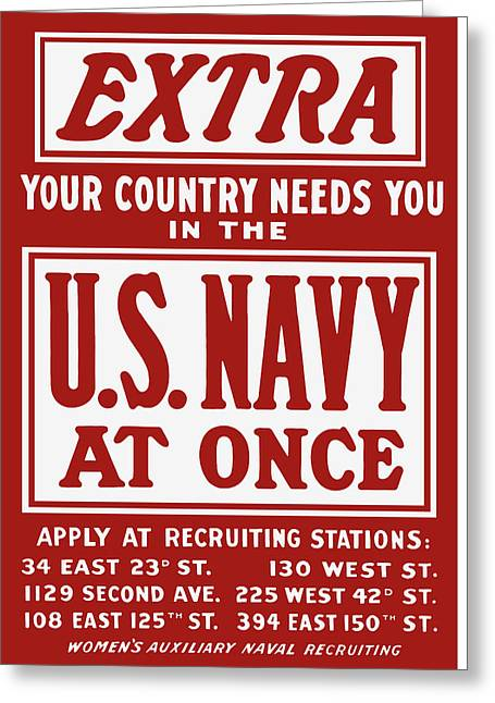 Recruiting Greeting Cards - Your Country Needs You In The US Navy Greeting Card by War Is Hell Store