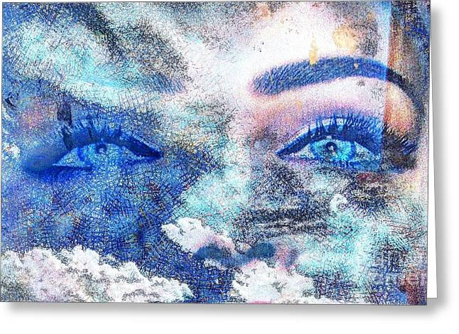 Fantasy World Pyrography Greeting Cards - Your Eyes Blue Greeting Card by Yury Bashkin