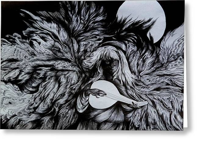 Night Angel Drawings Greeting Cards - Your Seven Angels. Friday Greeting Card by Anna  Duyunova