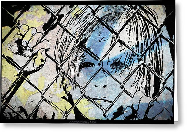 Nicole Frischlich Greeting Cards - Youth behind the fence Greeting Card by Nicole Frischlich