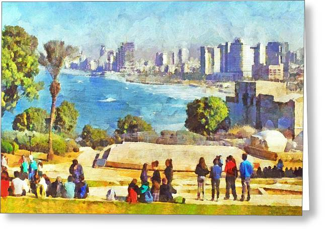 Birthright Greeting Cards - Youth Groups in Tel Aviv Greeting Card by Digital Photographic Arts