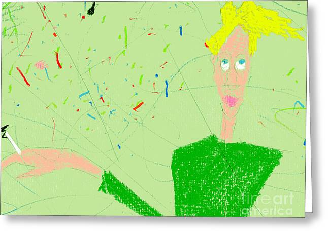 Pastel Artwork Greeting Cards - Youth In Green Shirt Greeting Card by Genevieve Esson