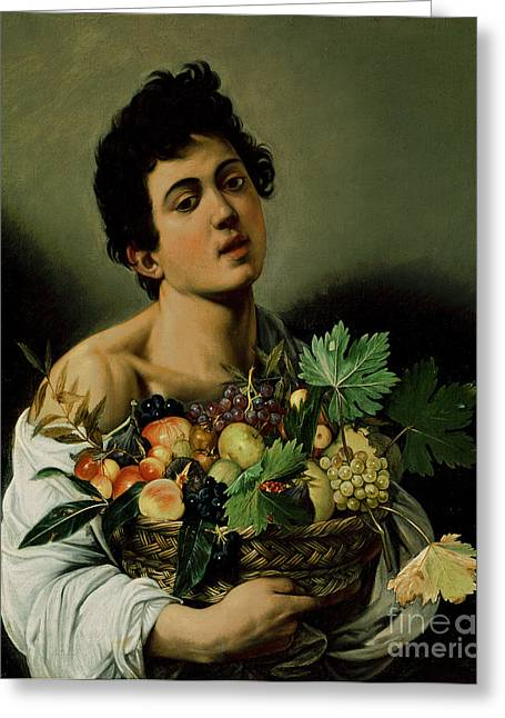 Michelangelo Caravaggio Greeting Cards - Youth with a Basket of Fruit Greeting Card by Michelangelo Merisi da Caravaggio